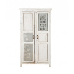 SNG Solid Wood Distressed White Printed Cupboard India