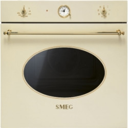Smeg Electric Thermoventilated Oven, Vapor Clean, 60 Cm, Coloniale, Cream, Gold Finishing, Energy Rating A