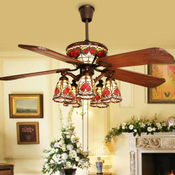 Fanzart Tiffany – Vintage Wooden Ceiling Fan tiffany
