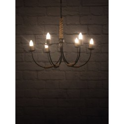 Fos Lighting Beach House 6 Light Rope Chandelier uarm-blk-rope-candle-ch6_10__1