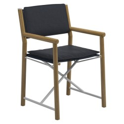 Gloster Voyager Directors Chair - Buffed Teak / Padded Sling (sapphire) large