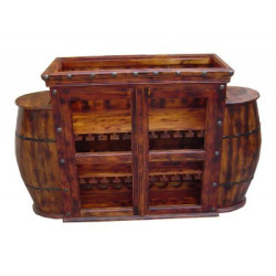 SNG Solid Wood Barrel Style Bar Cabinet India