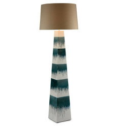 Table lamp ceramic,conical,, blue&white striped base with natural coloured linen shade
