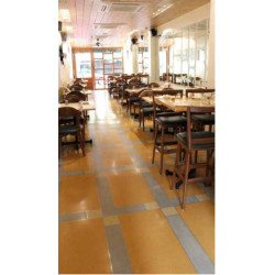 Eddie's Bistro at Bandra, Mumbai, floored with panels of different coloured In situ Terrazzo