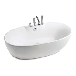 Virginia Oval Free Standing Acrylic One Piece Bath With Bath-Shower Mixer