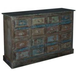 SNG Solid Wood Vintage Dark Colored 12 Drawer Chest