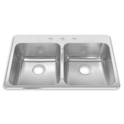 American Standard Prevoir 18 Gauge Stainless Steel Drop-In 33-3/8 Inch by 22 Inch 2-Bowl Kitchen Sink