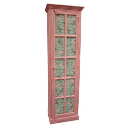 SNG Solid Vintage Wooden Wardrobe With Printed Doors(Pink)