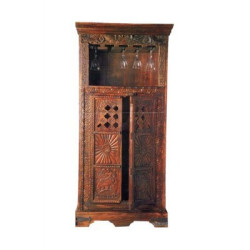 SNG Solid Wood Tradition Carved Bar Cabinet India