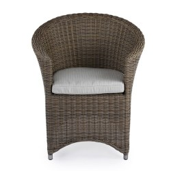 Abaca  All Weather Polypeel Chair With Aluminium Accents And Loose Cushioned Seat