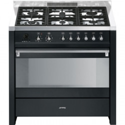 Smeg CS19A-7 Cooker, 90x60 Cm, Opera, Anthracite, Gas Hobs, Energy Rating B