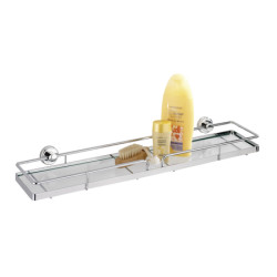 Wenko Power-Loc Glass Wall Shelf Sion