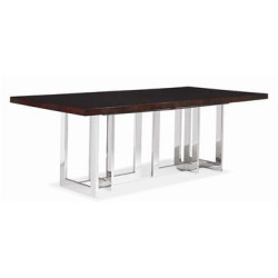 Century Furniture Satin Walnut Dining Table With Metal Base 849-303