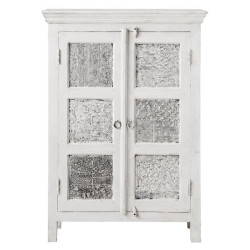 SNG Solid Wood White Metal Medium Wardrobe
