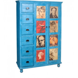 SNG Solid Wood Distress Blue 6 Drawer Cupboard India