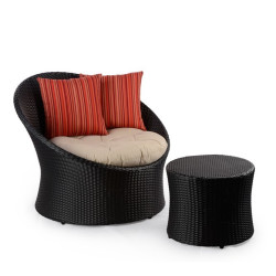 Abaca  Javier Outdoor Tubchair With Side Table In Black