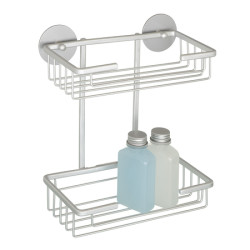 Wenko Turbo-Loc Wall Rack With 2 Shelves Matt Aluminium