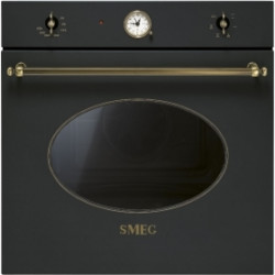 Smeg Electric Ventilated Oven, 60 Cm,Coloniale, Anthracite, Old Brass Finishing, Energy Rating A