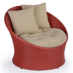Abaca  Javier Outdoor Tubchair In Red