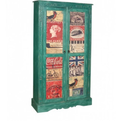 SNG  Solid Wood Distress Green Cupboard India