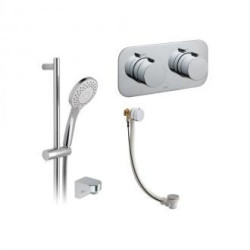 Vado 2 Outlet, 2 Handle Concealed Thermostatic Shower Valve, Slide Rail Shower Kit And Bath Filler Waste