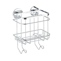 Wenko Turbo-Loc Stainless Steel Wall Basket With Hooks