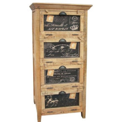 SNG  Solid Wood VIntage Printed Chest (Natural)