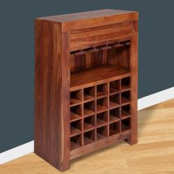 Evok Vermount Solidwood Wine Rack-Light Walnut IMAGE