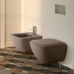 Cielo Wall Hung Bidet and Wc Colored Arenaria Wall hung bidet and wc colored Arenaria