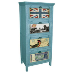 SNG Solid Wood Printed Drawer Chest (blue)