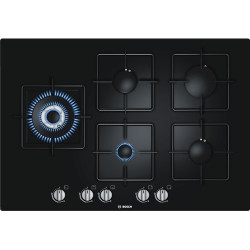 Bosch  Integrated Control Black Hard Glass Gas Hob 75 cm 75 cm, Black Hard Glass Gas hob with integrated controls
