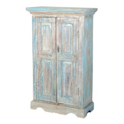 SNG Solid Wood Rustic Look Reclaimed 2 Door Small Cupboard