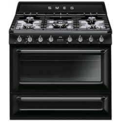 Smeg TR90BL1 Cooker, 90x60 Cm, Victoria, Black, Gas Hobs, Energy Rating B