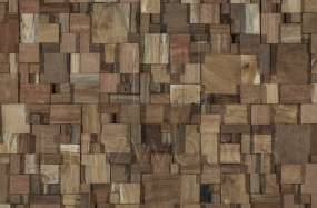 HRC2024 Vertical Reclaimed Solid Teak Unfinished Mesh Backed Cladding Panel