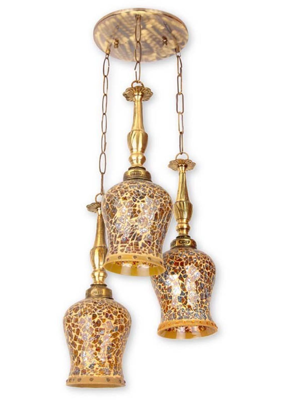 Triple Fiery Glass Set of 3 Hanging Lights