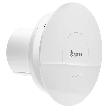 """Simply Silent Contour 4"""" 100mm Round Bathroom Fan With Humidistat & Timer"""