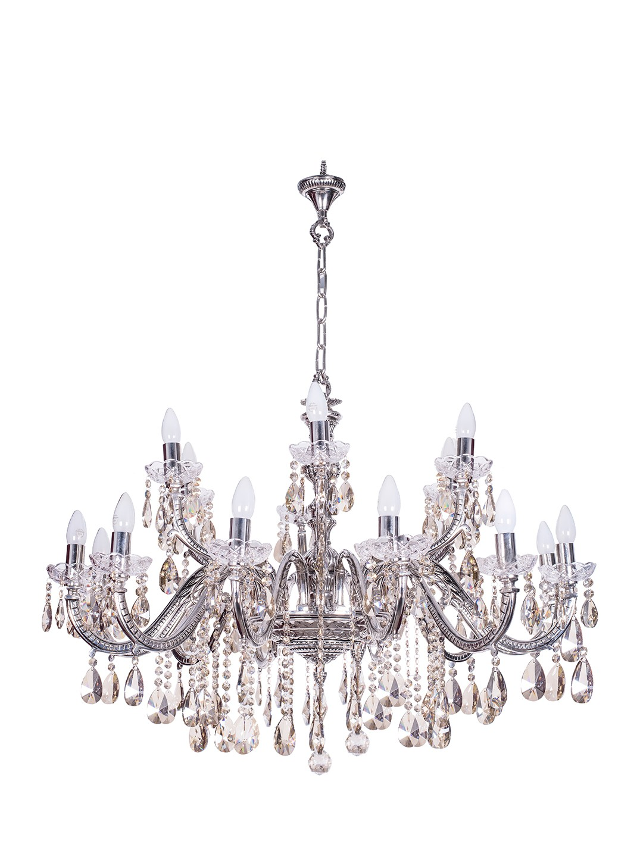 Sz Silver 18 Light Brass Crystal Chandelier
