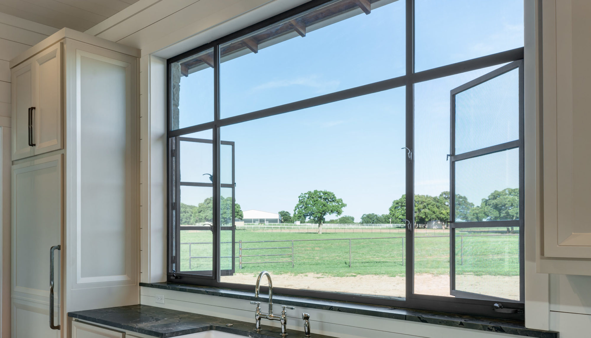 Storefront Interior Double Out-Swing Casement with Fixed Window
