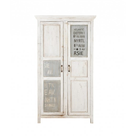 Solid Wood Distressed White Printed Cupboard India