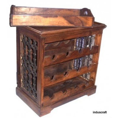 Solid Wood Bar Cabinet With Jali India