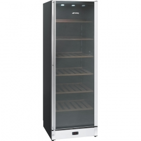 Wine Cooler In Gloss Black And St/Steel With Glass Door, Classic Aesthetics