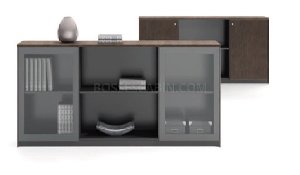 Veneer Filing Cabinet & Book Shelf With Glass Doors - Bcsv-902 A