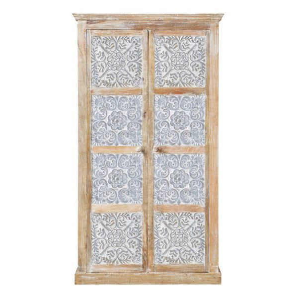 Solid Wood Deeply Carved Two Door Wardrobe