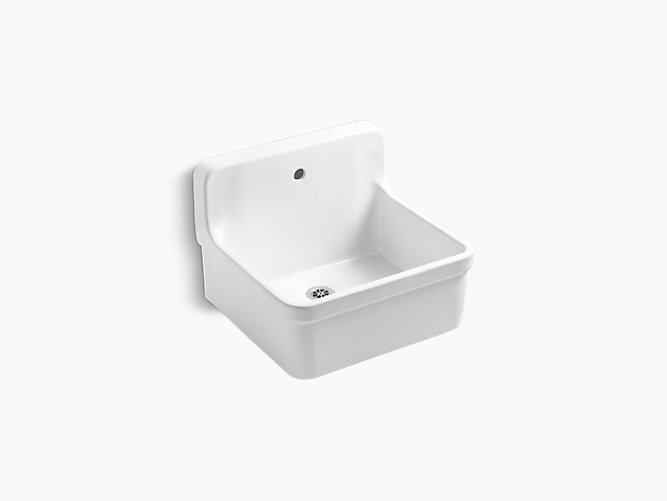 24 X 22 Bracket-Mounted Scrub-Up/Plaster Sink With Single Faucet Hole