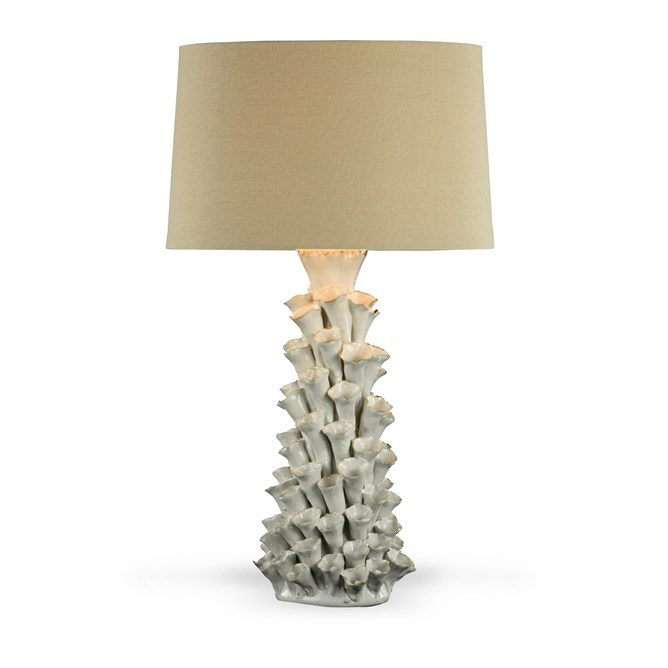 ceramic white narrowtextured conical base with oversized brown linen shade