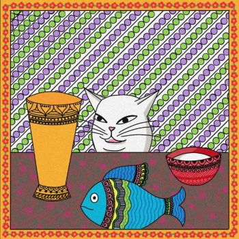Smudge cat meme Madhubani