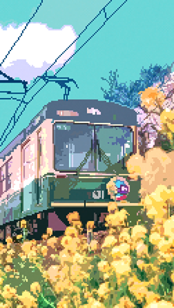 Flowers and a Train