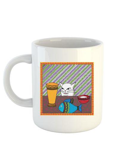 Smudge cat meme Madhubani