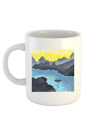 Mountain sunset river