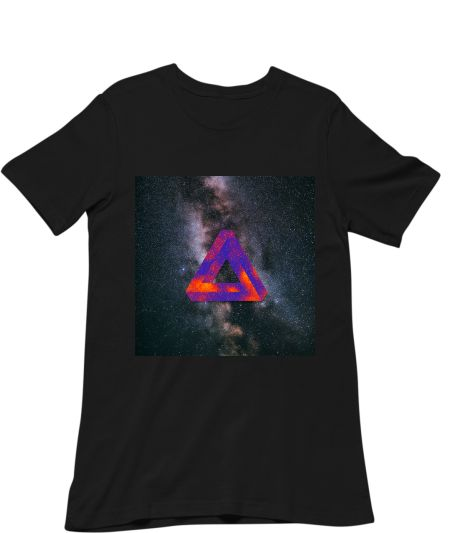 Abstract triangle with bright color galaxy and sta